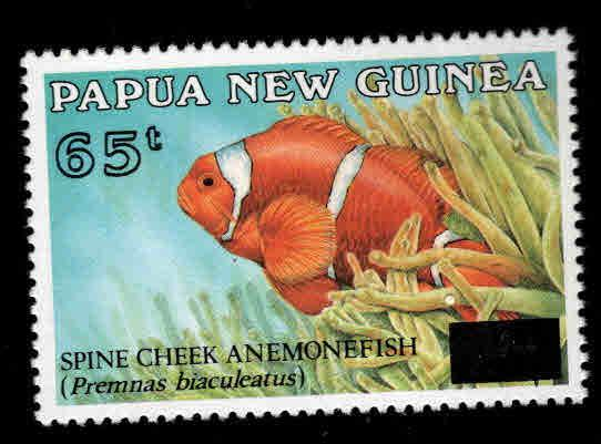 PNG Papua New Guinea Scott 868 MNH** surcharged fish stamp 1994