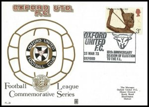 1973 Oxford United FC 10th Anniversary Year Commemorative First day Cover