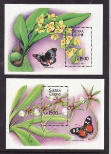 Sierra Leone-Sc#1749-50-two sheets-unused-NH-Butterflies-Insects-1994-