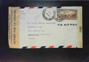 Haiti 1942 Censored Airmail Cover to USA - Z1595