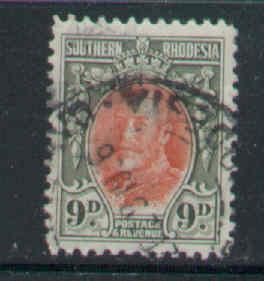 Southern Rhodesia-Sc#24-used 9p gray green & ver KGV-1934-