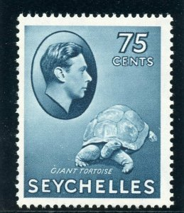 Seychelles 1938 KGVI 75c slate-blue (CH) superb MNH. SG 145. Sc 142.