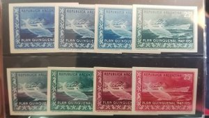 A) 1951, ARGENTINA, BOAT ¨PRESIDENT PERON¨ AND DOLPHIN, PROOF, BLOCK OF 8