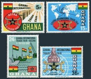 Ghana 269-272, MNH. Michel 279-282. Trade Fair 1966. Map, Ships, Flags.