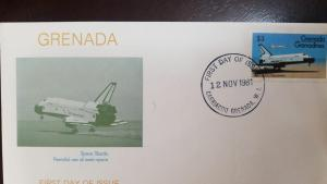 L) 1981 GRENADA, AIRPLANE, SPACE SHUTTLE PEACEFUL USE OF OUTER SPACE, 3C, FDC