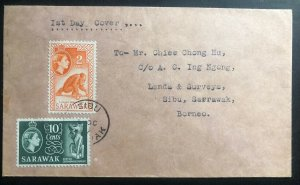 1957 Sibu Sarawak First Day Cover FDC Lands & Surveys Locally Used