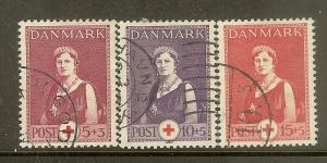 Denmark, Scott #B9-B11, Queen Alexandrine, Used