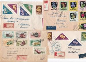 HUNGARY , 5 REGISTERED BUDAPEST  POSTAL COVERS    REF R 2034