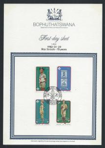 BOPHUTHATSWANA SC# 84-7 1ST DAY SHEET 1.20.5  FVF/CTO