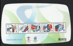 Canada Sc 2299 2009 Vancouver Olympics stamp sheet mint NH
