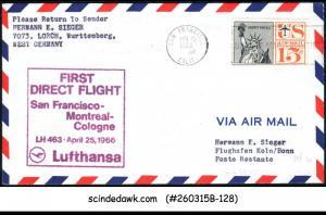 USA - 1966 LUFTHANSA LH 463 SAN FRANCISCO-MONTREAL COLOGNE - FFC