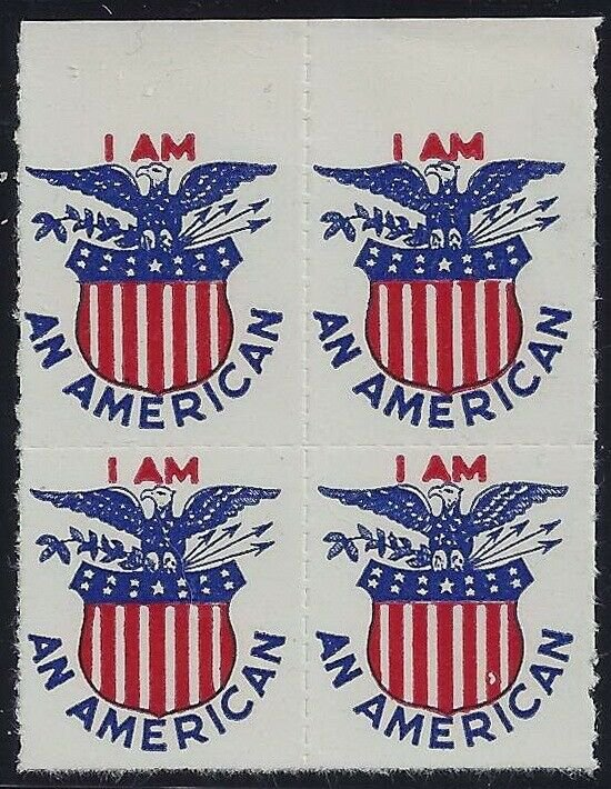I AM AN AMERICAN Vintage Cinderella Stamp Blk4 With Eagle and Shield Mint NH