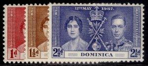 DOMINICA GVI SG96-98, CORONATION set, NH MINT.