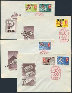 Russia 2921-2926 4 FDC.Mi 2932-2937. Olympics Tokyo-1964:Equestrian,Canoeing,