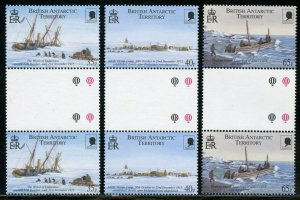 BRITISH ANTARCTIC TERRITORY SCOTT#285/87 GUTTER PAIRS MINT NH-SCOTT VALUE $46.00