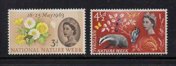 Great Britain Sc 393p-94p 1963 Nature Week Phosphor stamp set mint NH