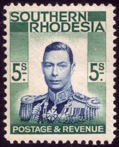 Southern Rhodesia 1937 5s Blue and Blue-Green SG 52 MLH