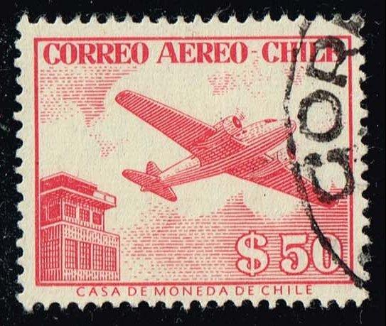 Chile #C186 Douglas DC-2 and Control Tower; Used (0.25)