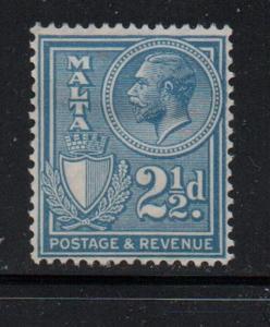 Malta Sc 172 1930 2 1/2d blue George V stamp mint