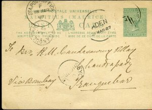 SEYCHELLES-1879 6d Green Mauritius Postcard used in Seychelles. A very fine used