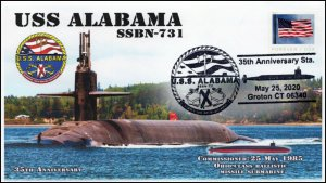20-115, 2020, USS Alabama Pictorial Postmark, Event Cover, SSBN-731