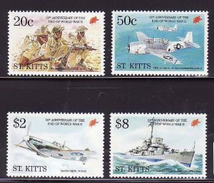 St. Kitts-Sc#389-92- id7-unsed NH set-Planes-Ships-WWII end-1995-