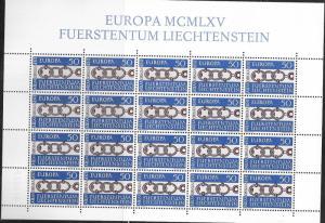 Liechtenstein #400  50rp 1965  EUROPA Sheet of 20   (MNH)  CV $9.00