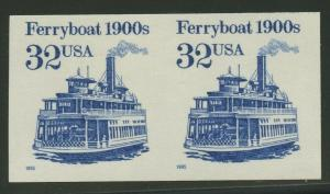 #2466a 32c FERRY BOAT IMPERF PAIR ERROR (SHINY GUM) XF NH CV $375 BU8595 JN