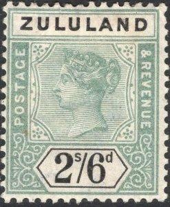 ZULULAND-1896 2/6 Green & Black Sg 26 AVERAGE MOUNTED MINT V50120