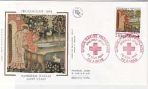 France 1994 Red Cross Slogan Cancels Saint Vaast Pic + Stamp FDC Cover Ref 31648