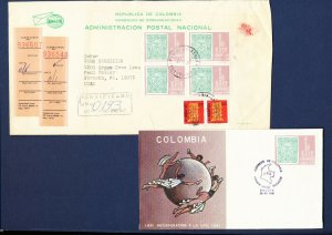 COLOMBIA - # C715 on FDC & block of 4 on Registered cover to USA - 1981-1982