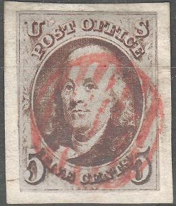 U.S. 1a 1847 Used On Piece FVF (51418)