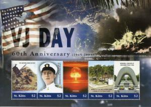 St Kitts 2005 MNH WWII WW2 VJ Day World War II USS Arizona 5v M/S Ships Stamps
