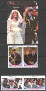 Tuvalu Sc# 381-383 MNH Set/3 1981 Charles & Diana Royal Wedding