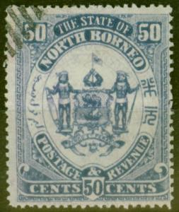 North Borneo 1894 50c Chalky Blue SG82d Var Printed Both Sides One Inverted Fine