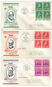 Scott 864,865,866 1940 1c-3c Famous Americans First Day Covers Cat $10.00