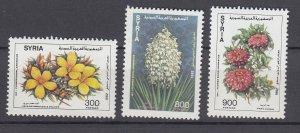 J28855, 1992 syria set  mnh #1272-4 flowers