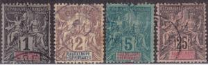 GUADELOUPE Used Scott # 27-28, 30, 37 Navigation & Commerce - faults (4 Stamps)