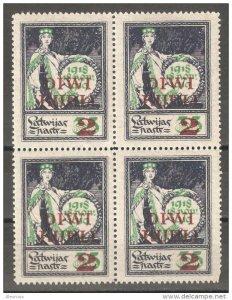 Latvia 1920-21, Surcharged 2 Rub on 35 kop, Block Scott # 88, VF-XF MNH**OG