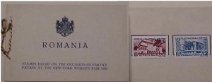 ROMANIA  PO BOOKLET WITH 2 NY EXPO 1939 STAMPS MINT LIGHT HINGED
