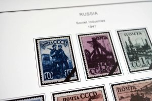 COLOR PRINTED RUSSIA 1941-1949 STAMP ALBUM PAGES (58 illustrated pages)