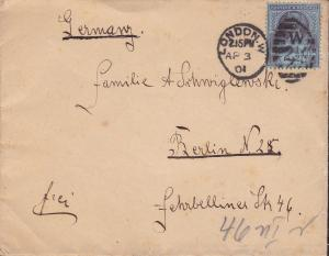 Great Britain 1901 2 1/2d Queen Victoria Jubilee on Cover to Berlin, Germany