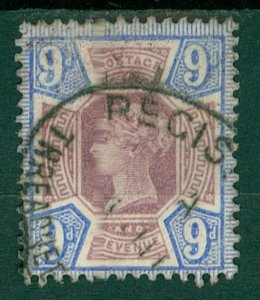 GB QV 1887 Jubilee issue SG209 9d  Purple & blue cv£45+ Used Stamp