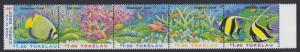 Tokelau Fish Corals Pacific Year of the Coral Reef strip of 5v SG#268-272