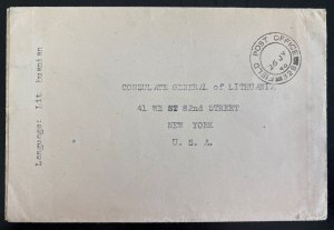 1948 England Field Post Office Cover To Consulate Of Lithuania New York USA