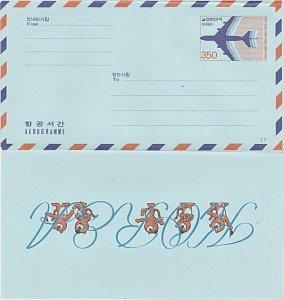 KOREA 350w aerogramme unused................................................L222