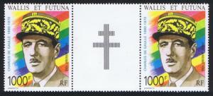 Wallis and Futuna General De Gaulle Pair with Cross label 1990 MNH SG#568