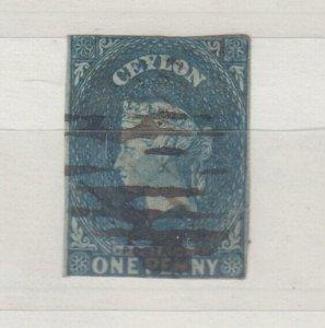 Ceylon QV 1857 2d Blue Imperf Large Star Fine Used J7600