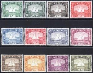 Aden 1937 1/2a-10r Dhow SG 1-12 Scott 1-12 MVLH/VLMM Cat £900($1125)