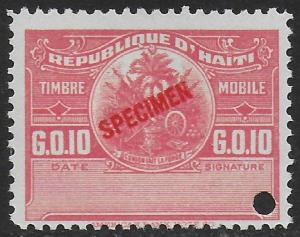 Haiti 1920 Revenue PROOF Timbre Mobile 10c Pink (Re-issue of 1924) VF-NH
